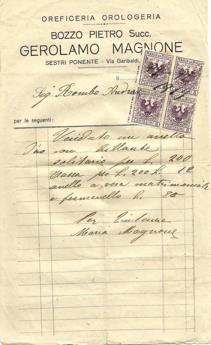 Una fattura del 19 novembre 1919 per la vendita di un anello Solitario con diamante, una vera matrimoniale e un ferma anello.