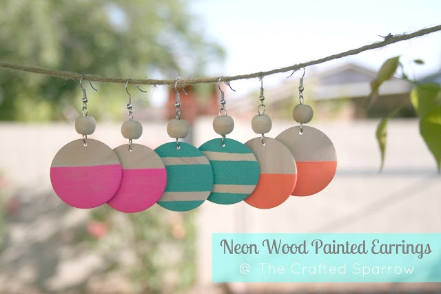 The Crafted Sparrow: Dollar Store Craft {Neon Wood Painted Earrings}Crafts Sparrows, Painting Earrings, Stores Crafts, Dollar Stores, Wood Earrings, Neon Wood, Crafts Neon, Dollar Store Crafts, Wood Painting