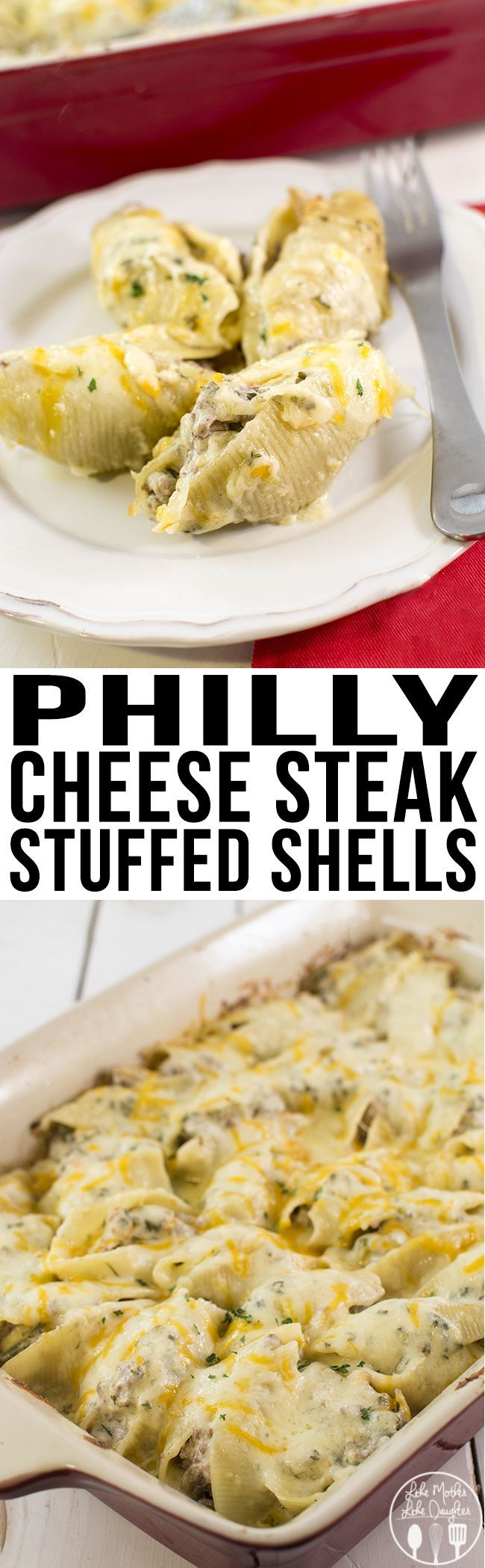 Philly Cheese Steak Stuffed Shells - These stuffed shells have the great taste of a philly cheese steak sandwich mixed with a creamy and cheesy sauce and stuffed inside of these shells!