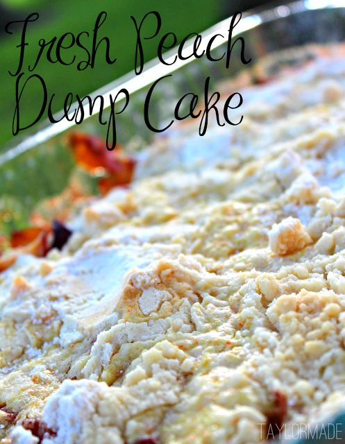 Fresh Peach Dump Cake 4-6 fresh peaches chopped 2-3 fresh plums chopped 1/2 tbsp cinnamon 1/2 tsp nutmeg 1 box yellow cake mix 3/4 sti...