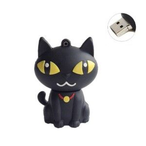 Heyrock Promotional Gift Usb Pendrive Cartoon Black Cat USB Memory 32GB External Storage USB connection, support Hot plug & Play. No external power supply required.