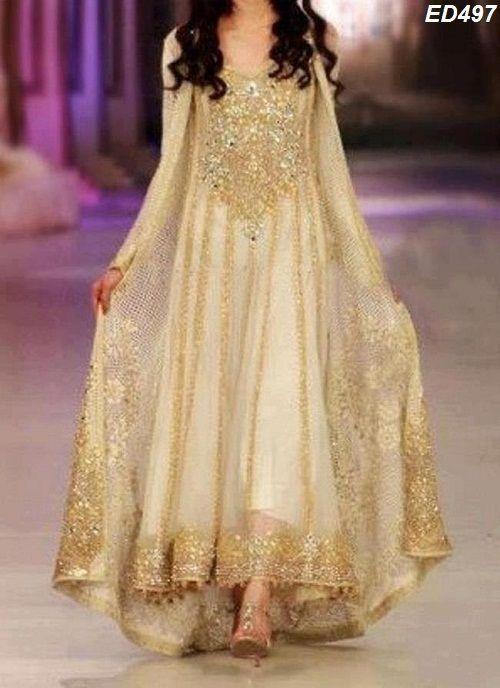 Asian Woman Golden Heavy Embroidery Long Kameez Pakistani Nikaah Anarkali Dress