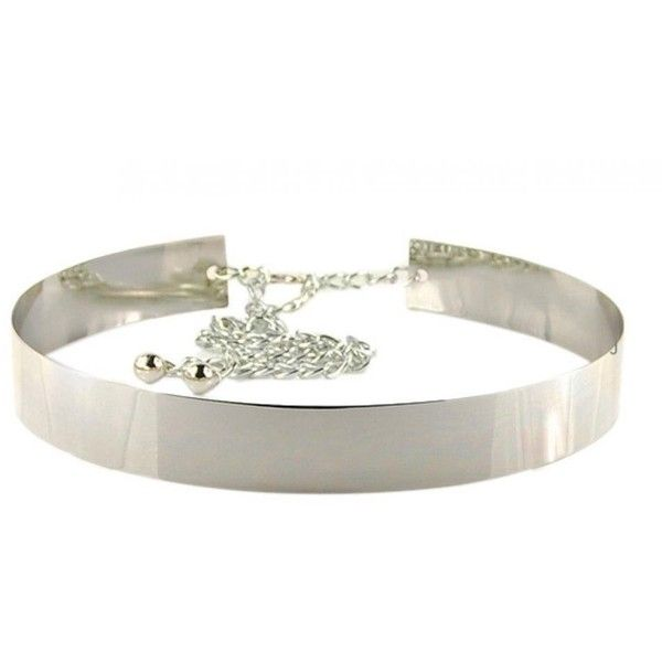 Womens Metallic Belt Wide Metal Waistband Silver Belt with Long Chain... ($13) ❤ liked on Polyvore featuring accessories, belts, wide metal belt, wide belt, wide metallic belt, metallic belts and metal belt