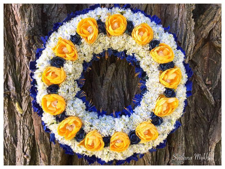 """Couronne Florale """"Fleurs"""". Couronne décorative. Couronne porte d'entre. : Accessoires de maison par perles-et-couronnes"""