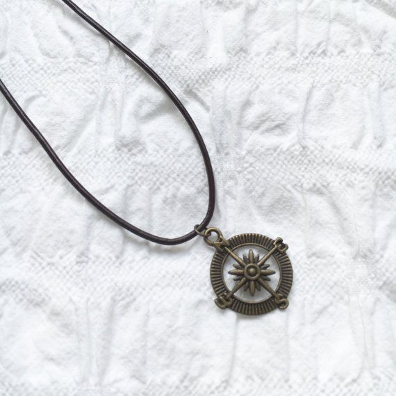 Antique gold compass leather necklace brown by JunkboxCouture