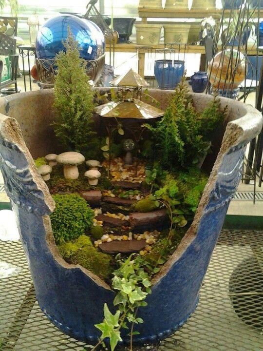Fairy garden in a broken pot