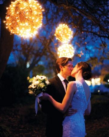 Light Bundles. Outside the barn at The Fearrington House Inn in North Carolina, starry bundles of lights wrapped in and out of wicker balls provide a dreamy scape for a photo shoot. Outdoor Party Lighting http://pinterest.com/wineinajug/outdoor-party-lighting/