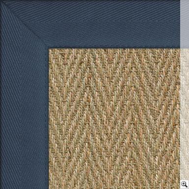 Seagrass Herringbone Rug. Border: Cotton Herringbone / French Navy