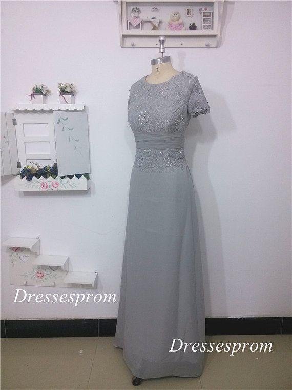 Grey Long Lace Bridesmaid Dress A-line Chiffon by Dressesprom