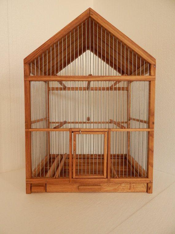 Jaula de madera hecha a mano por birdworld77 en Etsy