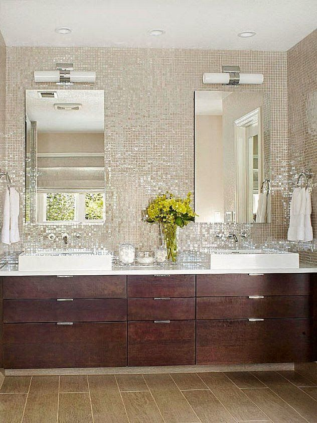 reflective glass tile wall in master bathroom