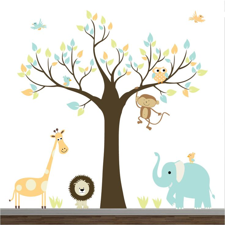 Children Wall Decals-Jungle with Elephant,Monkey Baby Boy Girl Wall Stickers. $159.00, via Etsy.