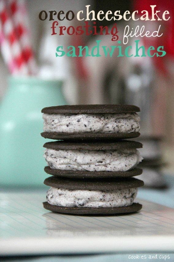 Oreo Cheesecake Frosting filled Sandwiches - Cookies and Cups