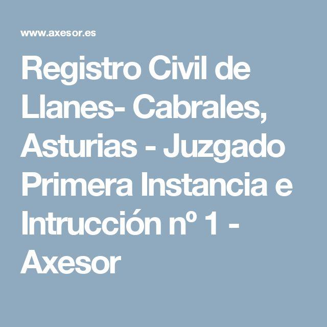 Registro Civil de Llanes- Cabrales, Asturias - Juzgado Primera Instancia e Intrucción nº 1 - Axesor