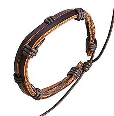 Mens Womens Dark Brown Leather Double Strap & Cord Surf Wristband Bracelet - 09