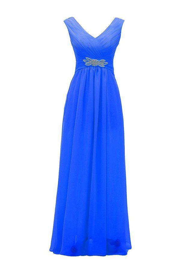 Hot Sale Youthful Chiffon Bridesmaid Dresses V-neck A-line Zipper Long Prom Dress