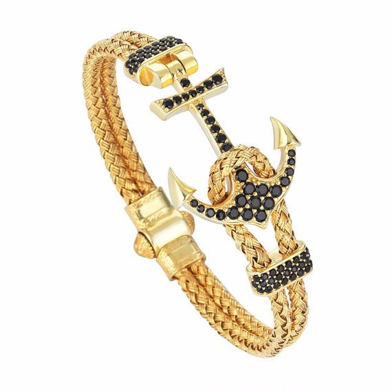 Anker Armband Gold Classymo Echtes 925 Silber Handgemacht