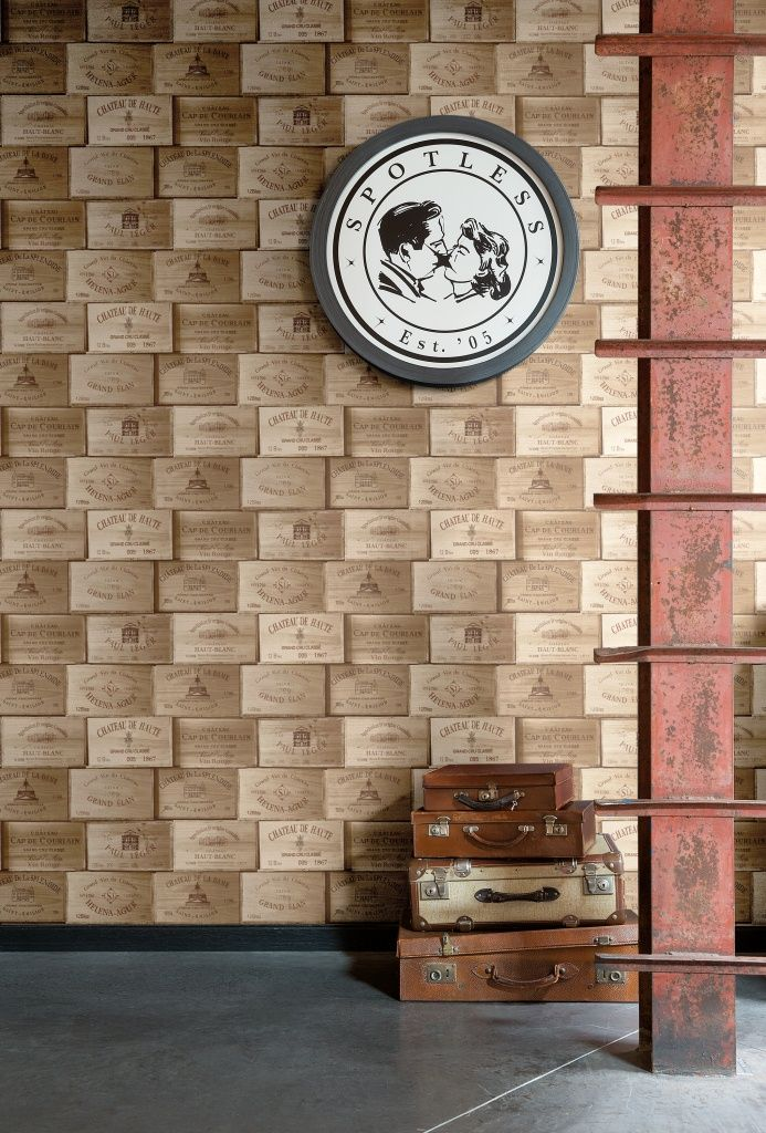 Exposed PE-11-01-1 by Grandeco. Wallpaper that looks like a stack of french wine cases. Available through Guthrie Bowron stores.