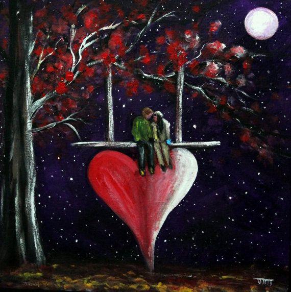 Valentine peinture sur toile conseil de 12 x 12 id es - Idee saint valentin deco murale originale avec coeur geant ...
