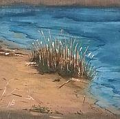 Картины и панно ручной работы. Ярмарка Мастеров - ручная работа Берег реки в пасмурный день. Handmade.
