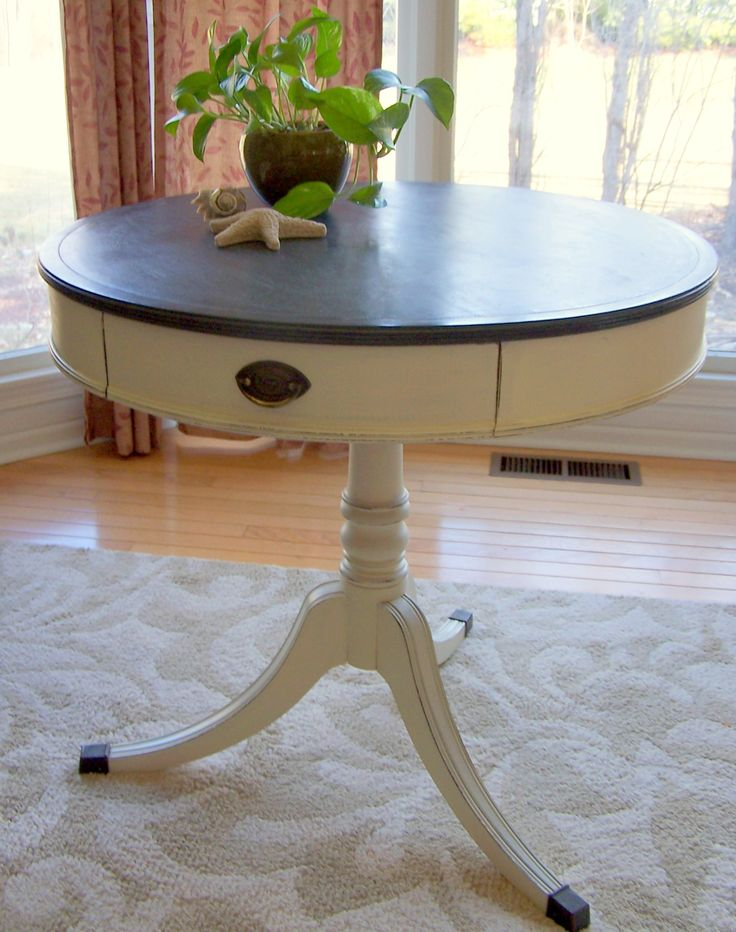 Drum Table In Old White & Vermont Slate | Urban Farmhouse Finishes
