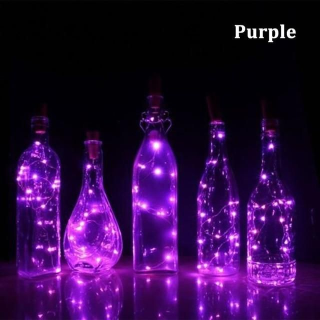 Solar LED String Copper Wire Wine Bottle Cork Micro Fairy Lights Party Valentine