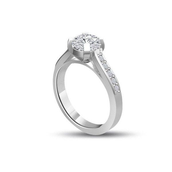 ANELLO DI FIDANZAMENTO SOLITARIO COMPOSTO CON DIAMANTE SUL GAMBO 18CT ORO BIANCO | Solitario Composto con 14 diamanti laterali. Il peso totale dei carati per questo anello varia da 0.35ct a 0.60ct, con il diamante centrale disponibile da 0.21ct a 0.46ct. Il diamante centrale e i 14 diamanti laterali sono Taglio Brillante. I 14 diamanti laterali sono 0.01ct ciascuno per un totale di 0.14ct e sono montati a griffe.