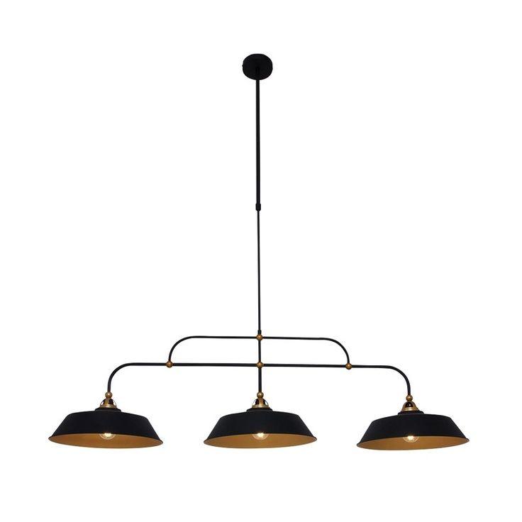Steinhauer Loft 3 Light Bar Ceiling Pendant - Black and Gold - Lighting Direct