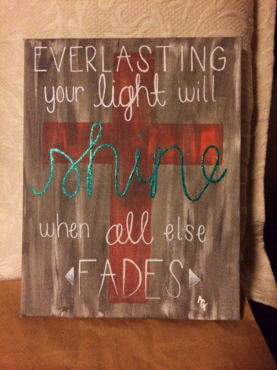 This is a 11x14 canvas hand painted with a cross and lyrics from the song From the Inside Out by Hillsong United. It was made to have a distressed look.