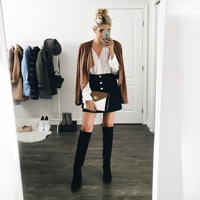 A-line skirt, over the knee boots