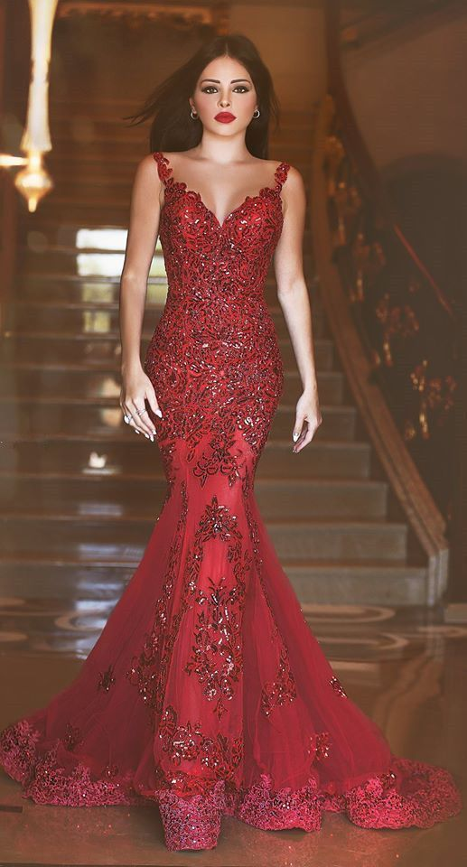 Sexy Red mermaid lace appliques evening gowns