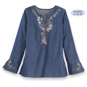 Embroidered denim tunic with florals, notched neck, and long bell sleeves. RE2-004 $29.95/34.95
