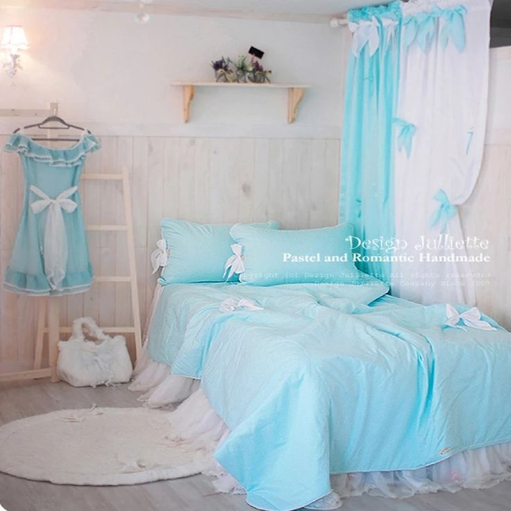 Find More Bedding Sets Information about Sky blue with Bows ladys Bedding sets cotton Palace Duvet Cover Home king Queen size bedRug Bedskirt pillow case Free Shipping,High Quality Bedding Sets from LAURA BAYTA KingBedding Store on Aliexpress.com