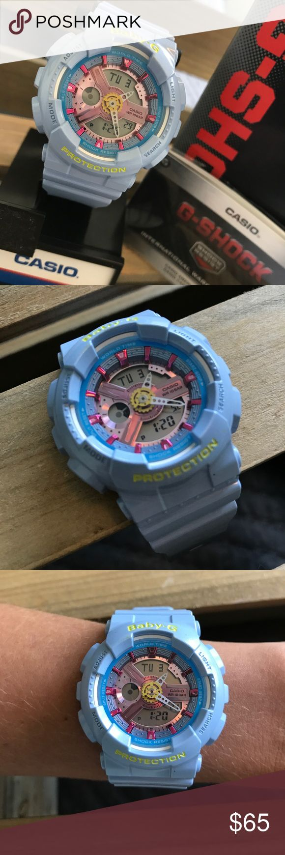 Brand new! Baby-G shock watch ⏱ Perfect condition! Still in box with user guide. These are the best watches! I have a solid black one that I wear daily. Watch face shows the day of the week, digital clock along with analog. G-Shock Accessories Watches