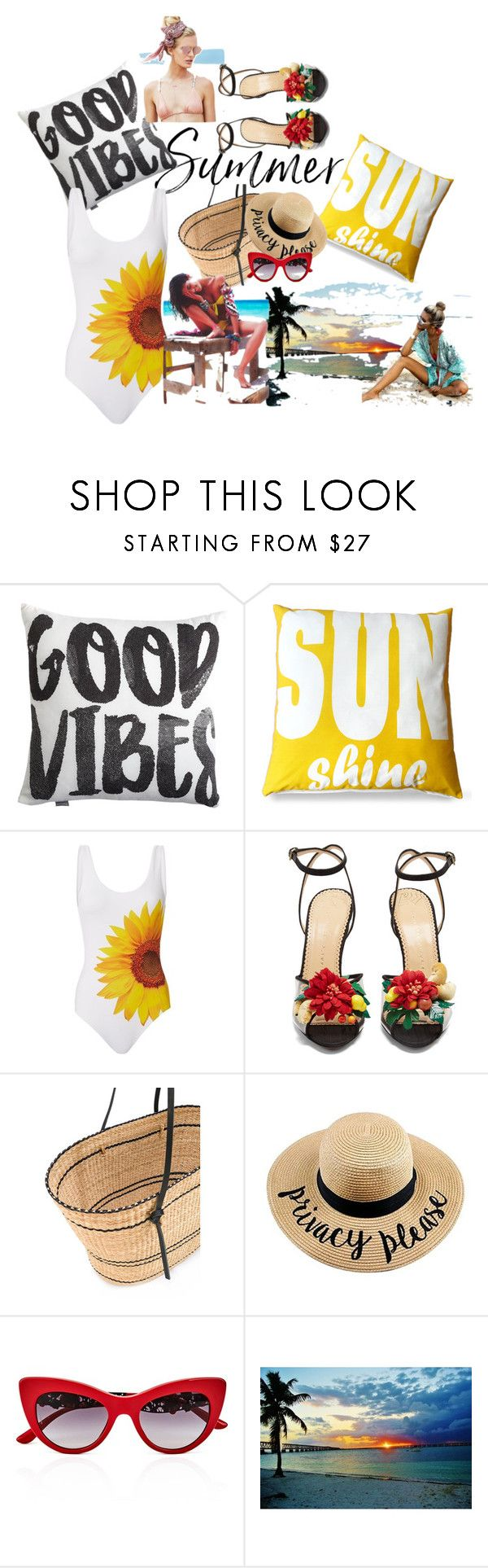 """""""Summer Vibes"""" by obsessedaboutstyle ❤ liked on Polyvore featuring Frog Hill Designs, ONIA, Charlotte Olympia, Beach Riot, Muuñ and Dolce&Gabbana"""