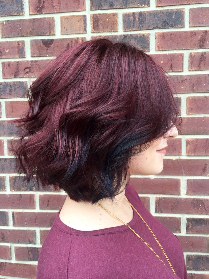 Wine purple red hair with oil slick bits towards the front. Love for autumn.