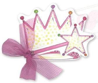 fairy princess party invitations diecut crown wand
