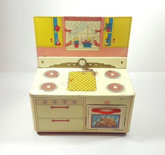 Vintage Tin Litho Ohio Art Co Toy Kitchen by ElysianVintageMN