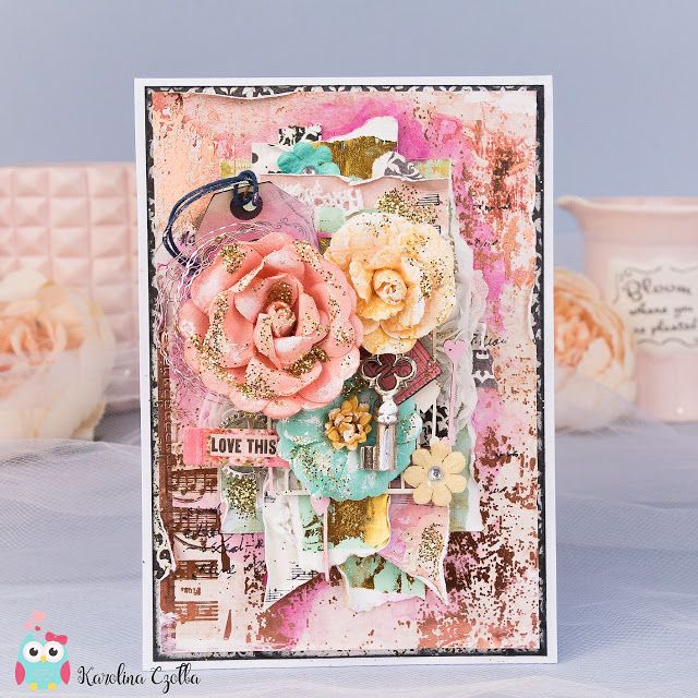 Card with lots of Prima Marketing products which I simply love :) #primamarketing #cardmaking #foil #scrapbooking #primaflowers
