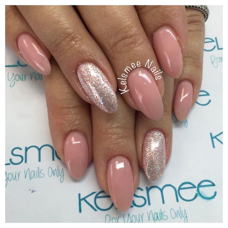Acrylic nails with gelpolish overlay And glitterpress