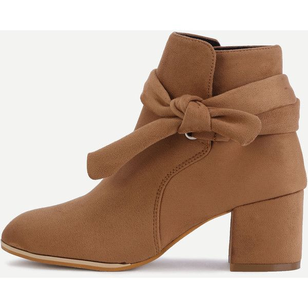 Brown Faux Suede Bind Bowknot Chunky Boots ($52) ❤ liked on Polyvore featuring shoes, boots, chunky shoes, high heel shoes, chunky high heel shoes, chunky high heel boots and chunky-heel boots