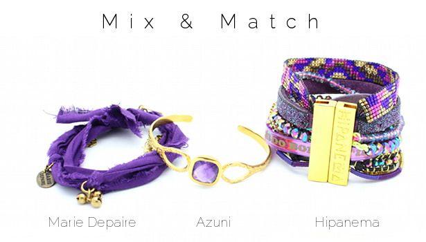 Mix & Match www.lilishopping avec un bracelet Marie Depaire, un jonc améthyste Azuni London et la manchette Octopus Hipanema