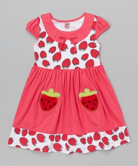 Kids Energy Fuchsia Strawberry Collar Dress - Toddler & Girls | zulily