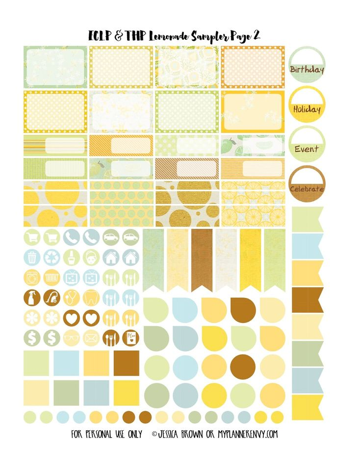Lemonade Sampler Page 2 for the Vertical Erin Condren and the Happy Planner on myplannerenvy.com