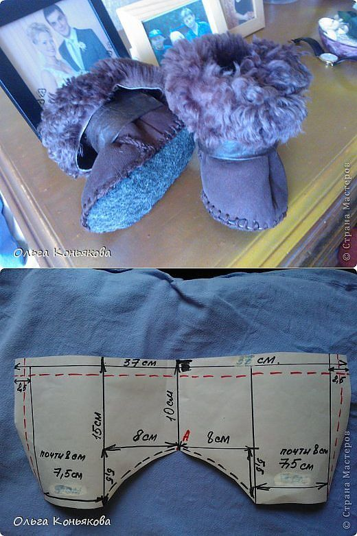 Warm sheepskin ugg boots from the old to the baby.  Pattern.
