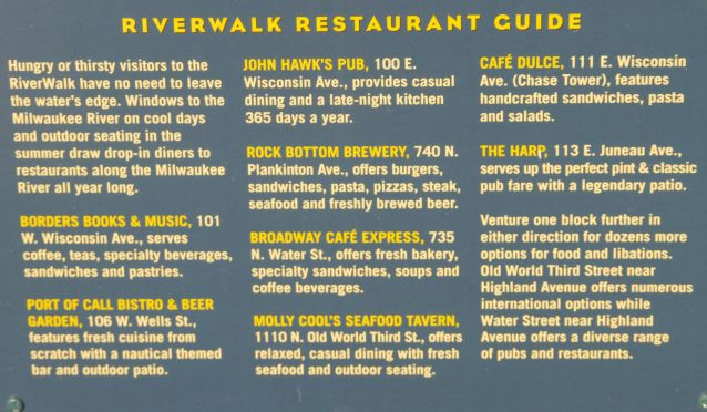 riverwalk restaurant guide milwaukee pinterest