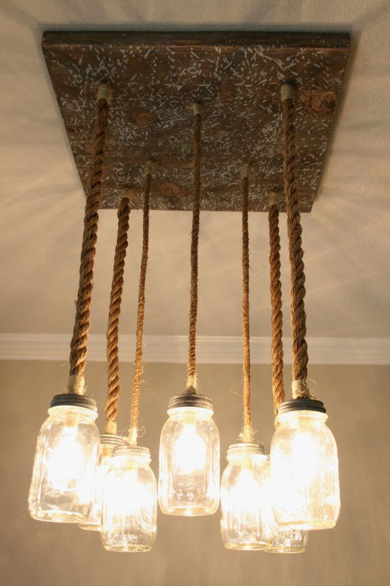 Rustic Mason Jar Chandelier With Nautical Rope By Reneeandsherwood 250 00