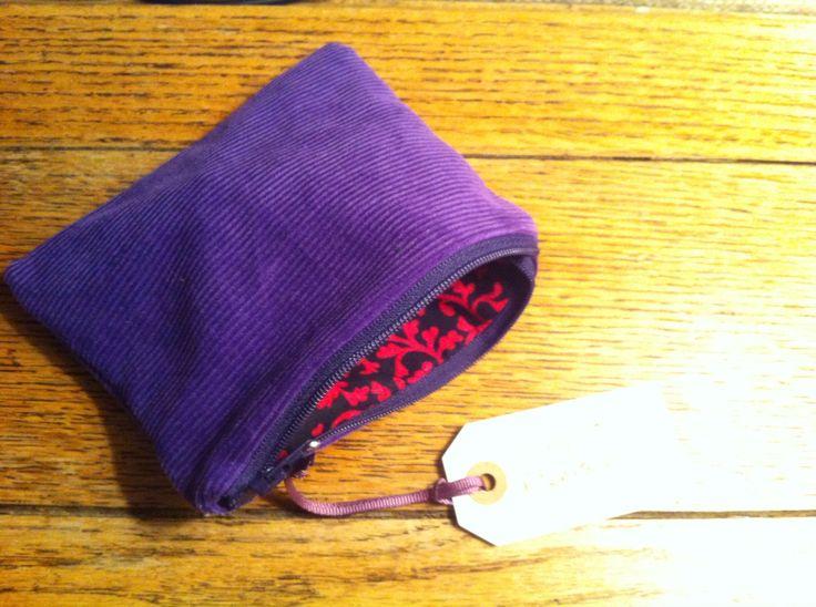 Purple needle cord purse. November 2015