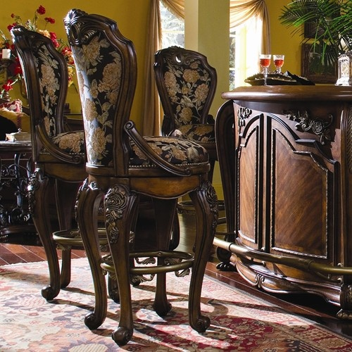 Oppulente Traditional Swivel Barstool with Ornate Carved Wood Trim by Aico Amini Innovation BarStool