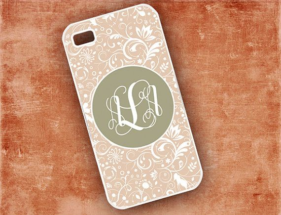 Monogrammed Iphone 4s case - Monogram Iphone cover case - chocolate white floral,  Iphone 5 case, Iphone 4 case plastic or silicone (9607) on Etsy, $16.99